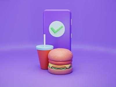 3d_Online Food Delivery online 3d art burgers burger 3d artist 3d design character web illustration ux ui illustration