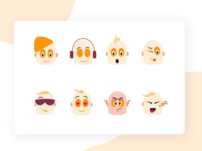 Emoji character icon ux vector messengers message app emoji set emoji flat design web illustration
