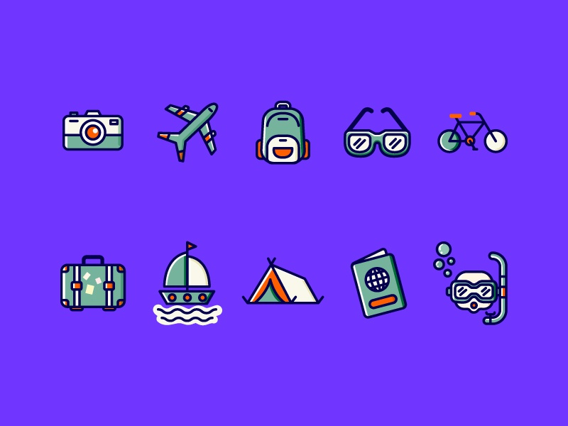 Travel Icons purple design app icons design ui app vector flat cycles aeroplane travelling travel app travel iconset icon web design