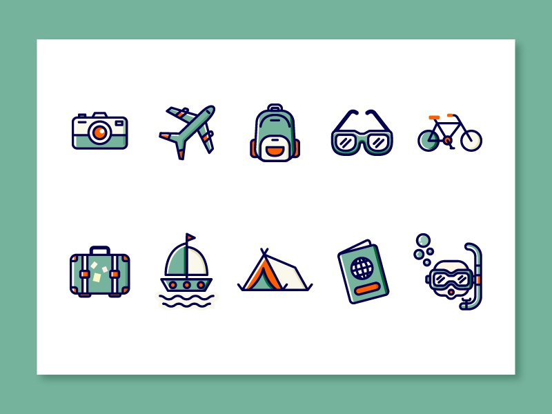 Travel Icons_1 branding app web design ui travel travel app traveling icon illustration