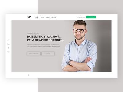 Portfolio welcome screen concept minimal clean poland webdesign website web ux ui theme concept