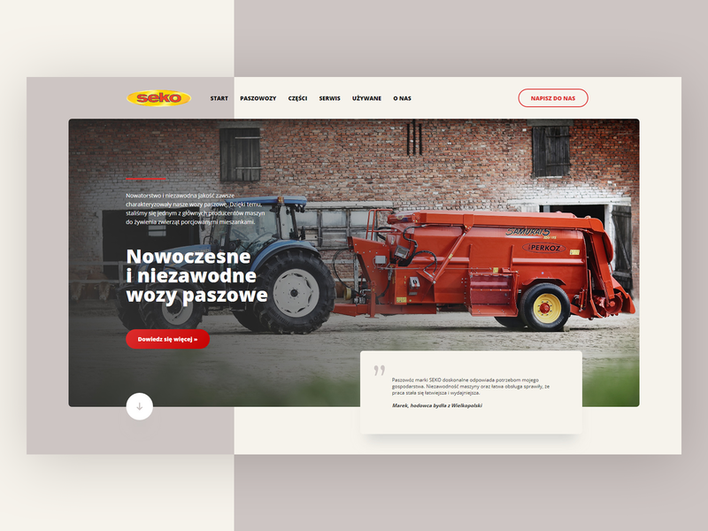 Seko Agriculture 🚜 - welcome section agriculture webdesign website web ui redesign theme clean ui poland page minimal clean design layout landing home hero header design concept clean