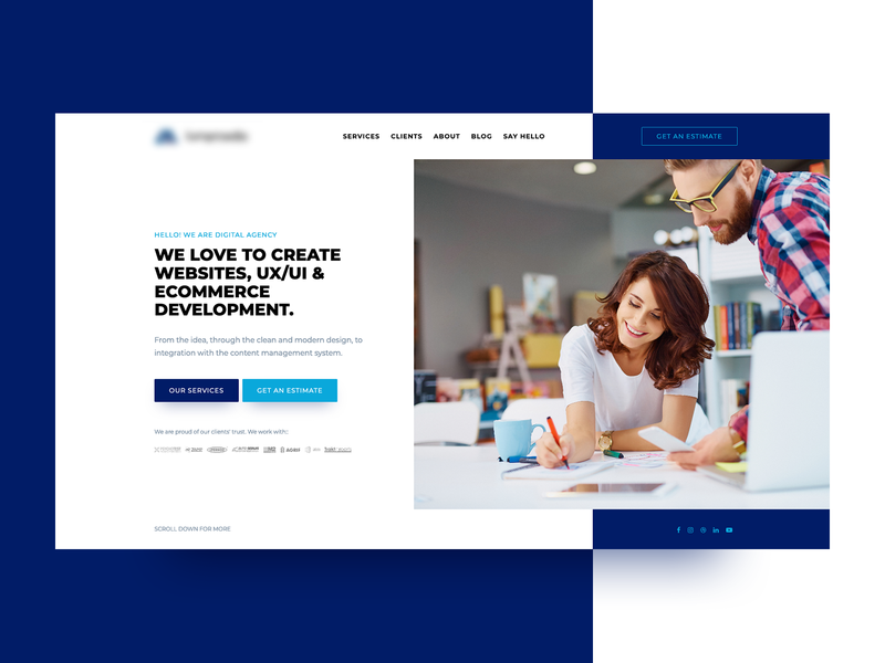 Digital agency - welcome section homepage redesign welcome landing home theme layout concept design clean webdesign minimal website web ui