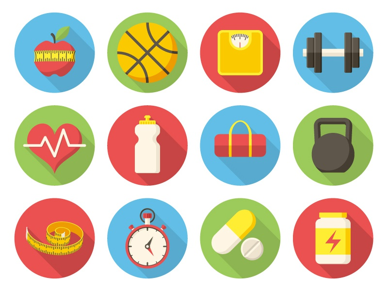Freebie AI: Fitness Icons long shadows flat design health freebie free sport fitness illustrations vector icons