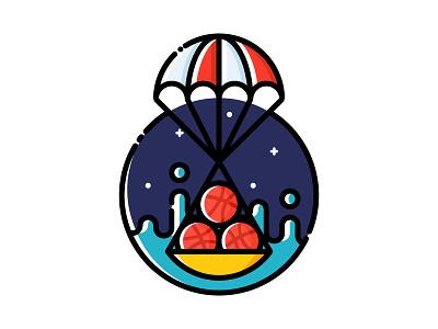 Splashdown! (Dribbble invite) parachute landing ocean touchdown splashdown invitation invite dribbble