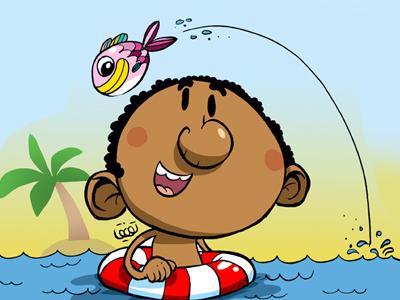Boy with fish child fish illustration kids