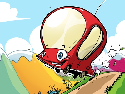 The Little Red Car car cover magazine cartoon kids child