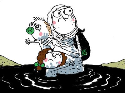 syrian migrants syria caricature illustration