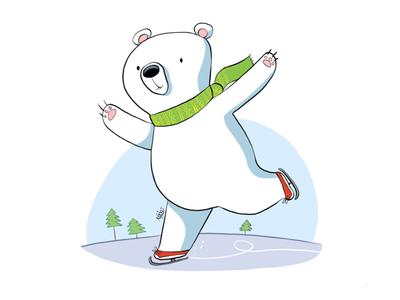 Happy bear kids magazine illustration 2d cartoon bear