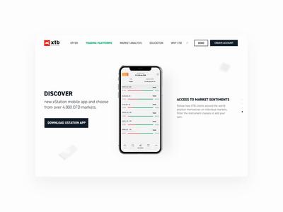XTB website - new trading app promotion