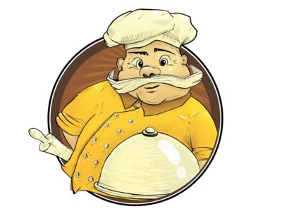 Papa Ronny's pizza character illustration