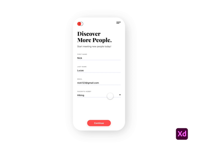 Sign Up Form product design ux ui typography visual design