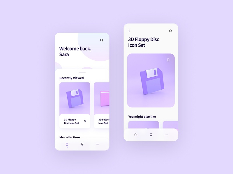 Inspiration App minimal pastel clean cards iconography illustration 3d ios mobile app design app inspiration app app design product design app ui visual design