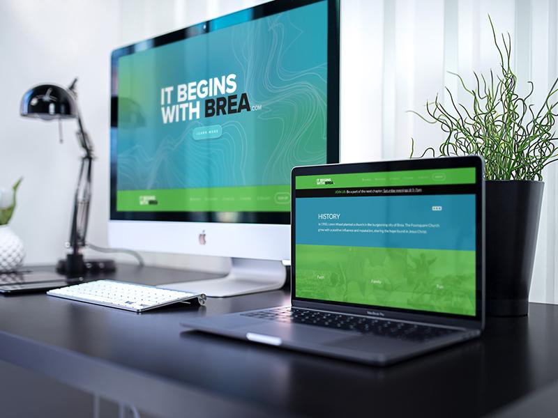 Designerken graphics website mockup it begins with brea