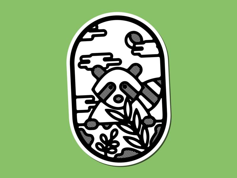Trash Panda logo icon illustration badge charm raccoon