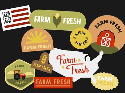 Farm Fresh! logo icons typography badge illustration