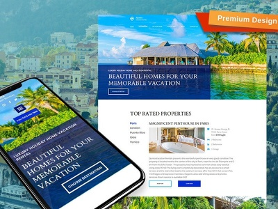 Vacation Rental Website Template for Holiday Rentals holiday rental responsive website design mobile website design website template design for website website design web design
