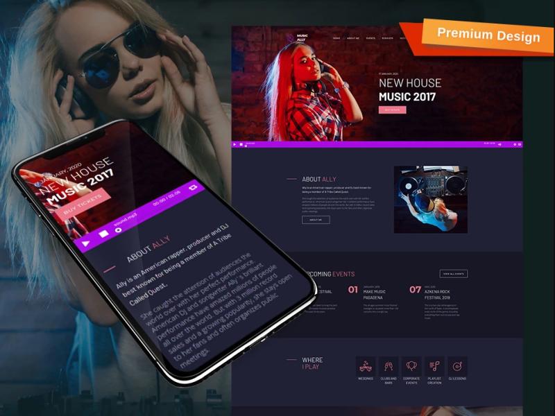 musically dj website template mobile website design website template design for website website design web design