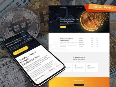 Bitcoin Cryptocurrency Premium Template mobile website design website template design for website website design web design