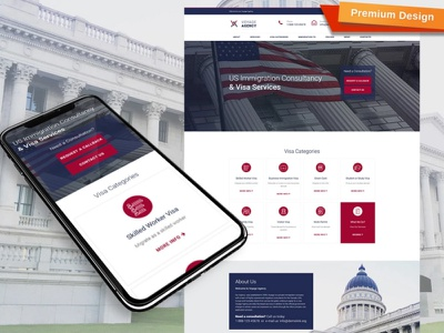 Immigration Consulting Website Template visa services immigration consulting responsive website design mobile website design website template design for website website design web design