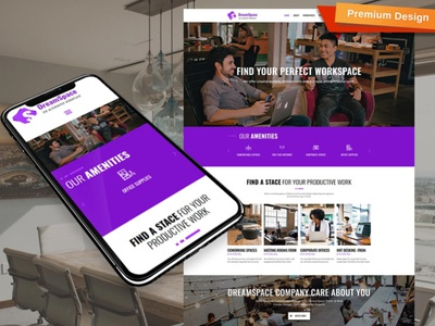 Coworking Website Template for Shared Workspace Site workspace site coworking website responsive website design mobile website design website template design for website website design web design