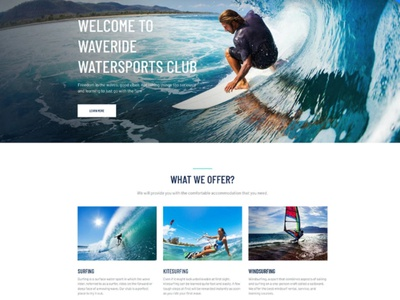 Surfing Website Template for Windsurfing Sports Club windsurfing sports windsurfing sports surfing surfing website responsive website design mobile website design website template design for website website design web design