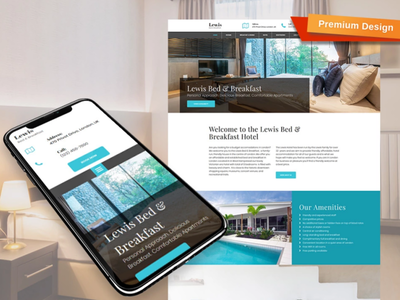 Bed and Breakfast Website Template for Hostel hostel bed and breakfast responsive website design mobile website design website template design for website website design web design