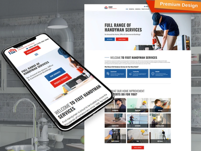 Handyman Website Template for Home Services home services responsive website design mobile website design website template design for website website design web design