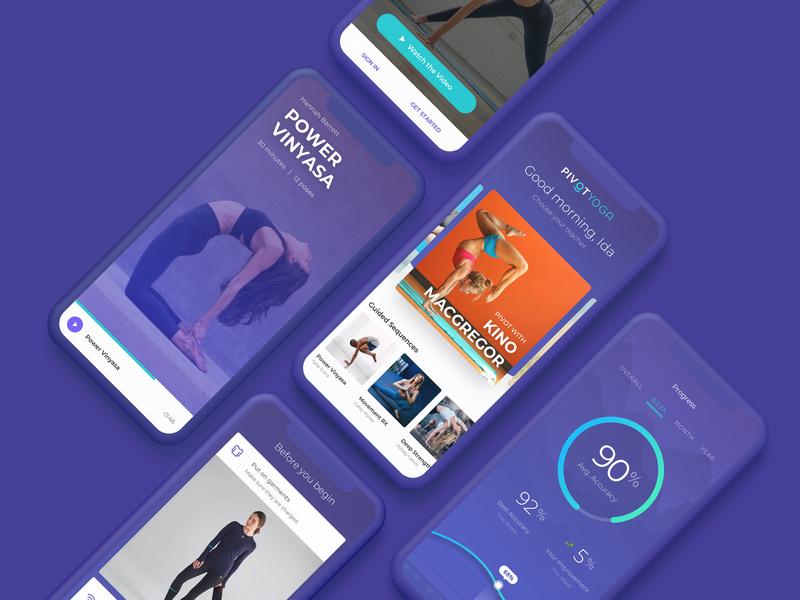 Pivot Yoga product design ux pivot purple mobile ios profile yoga ui
