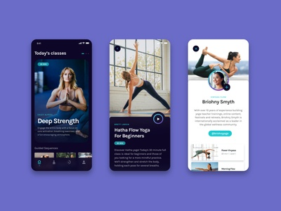 Pivot Yoga design app product design fitness ui yoga app teal purple yoga