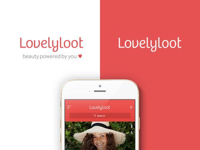Lovelyloot Logo brand ui lovely heart red coral logo app beauty