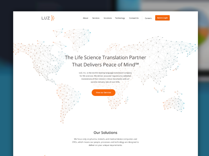 Translation Concept translation blue orange website homepage made with invision
