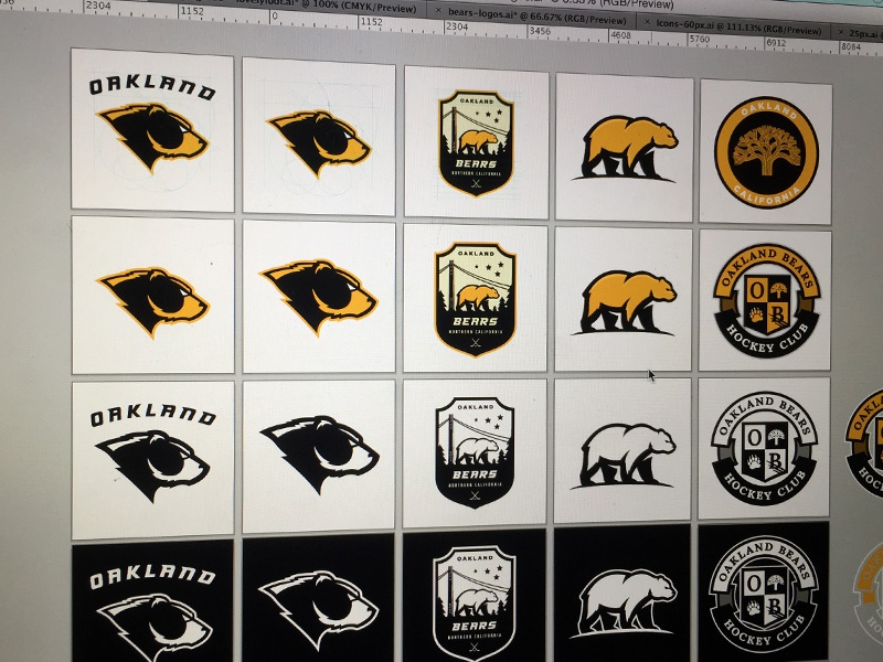 Bears Logo Grid branding grid black gold bear hockey sport logo
