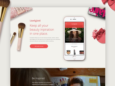 Lovelyloot Site iphone ios makeup pink red landing page app beauty lovelyloot website