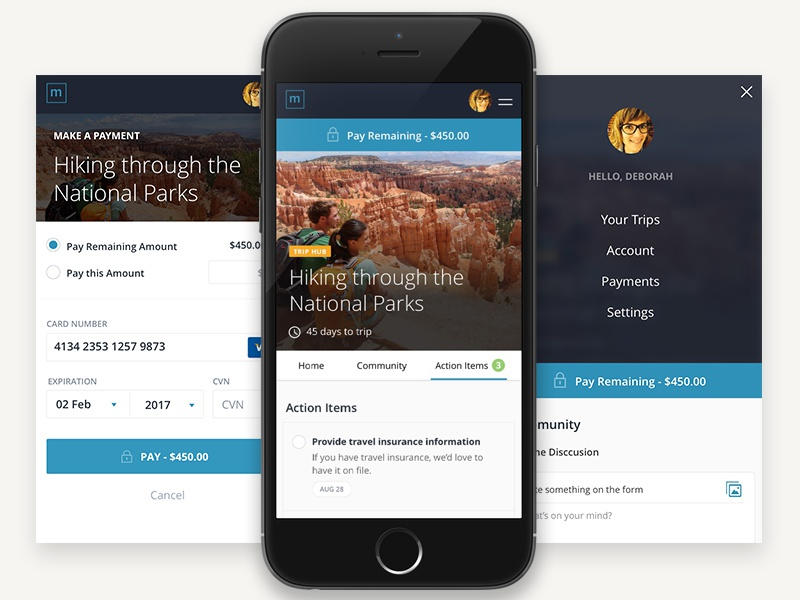 Trip Hub adventure trip profile modal payment nav menu responsive ios