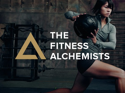 The Fitness Alchemists white symbol triangle brand workout gold fitness logo
