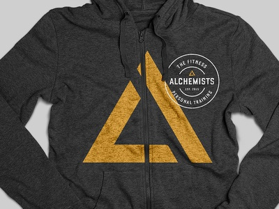 Fitness Alchemists Mockup patch identity sports sweatshirt mockup triangle gold logo fitness
