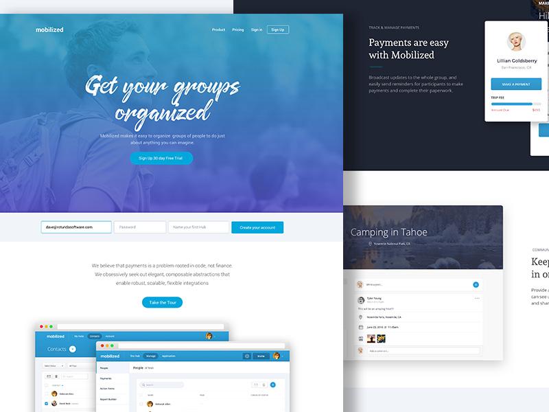 Mobilized landing page website blue form signup gradient landing page trips