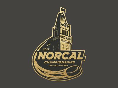 Hockey Tournament Logo tournament puck foil oakland tower gold hockey sports