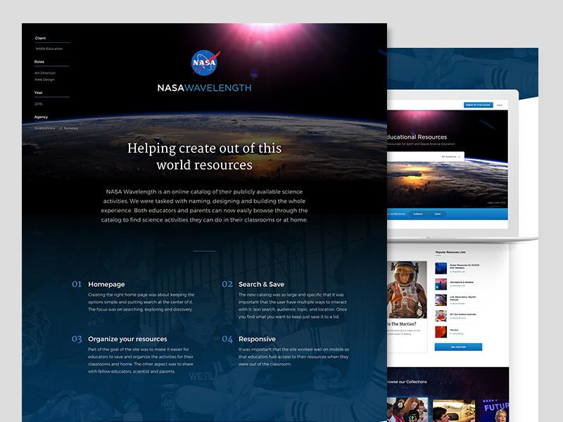 NASA Wavelength case study resources science activities earth blue mobile behance case study website nasa