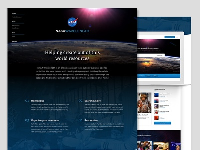 NASA Wavelength case study resources science activities earth blue mobile behance case study website nasa