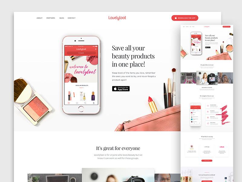 Lovelyloot Homepage Update app landing page ios app lipstick testimonials audience makeup landing page beauty website