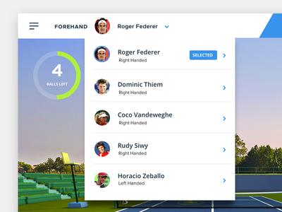 Choose Pro progress blue menu tennis dropdown
