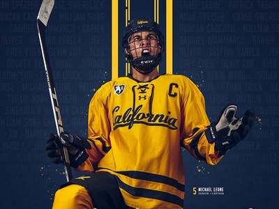 Cal Hockey Poster gold design sports college print poster blue hockey