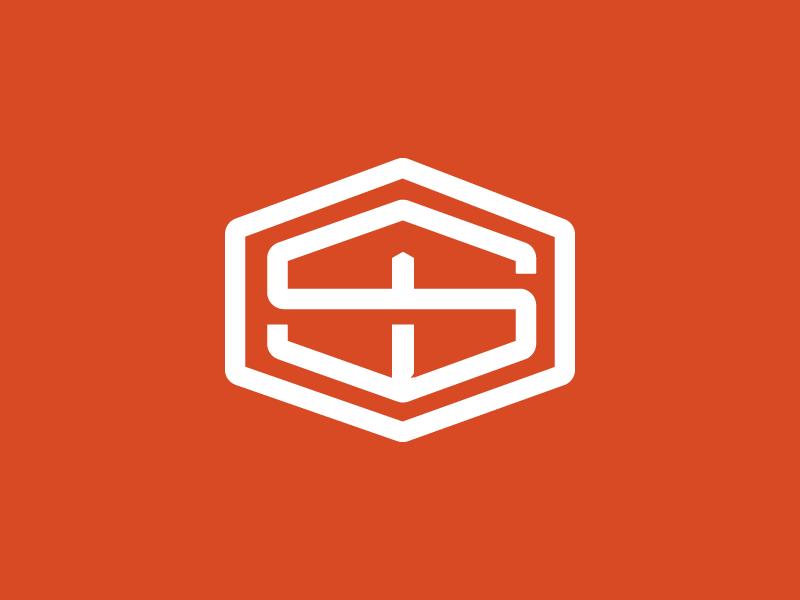 Twin State Basement white monogram identity working progress orange construction logo logo