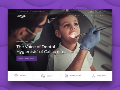 CDHA Website landingpage image website design california hero dentist purple web design homepage website