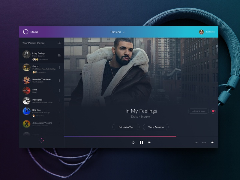 Moodi Music drake player purple mockup ux design desktop music ui blue