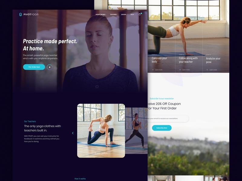 Pivot Yoga landing page ux design ui website design teal purple teacher yoga homepage design website