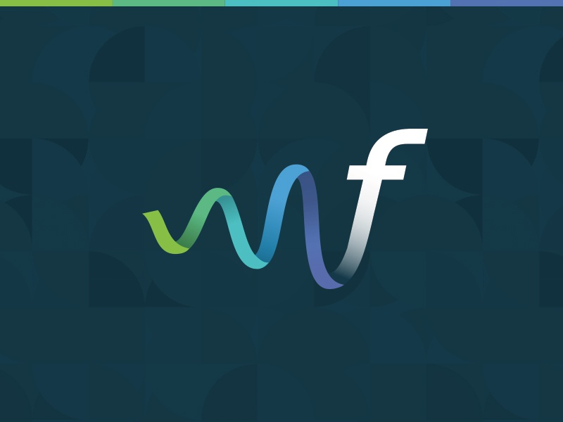 Flonomics Logo logo green blue purple f pattern graph wave