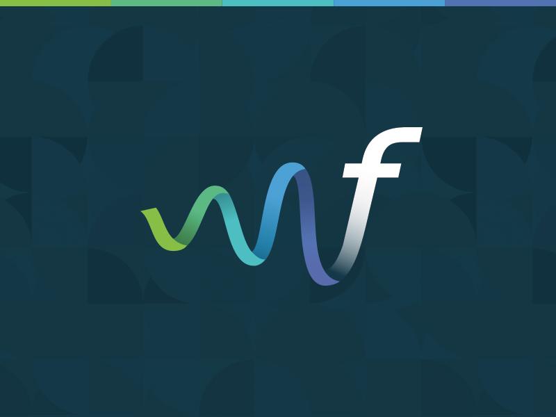 Flonomics Logo logo green blue purple f pattern graph wave